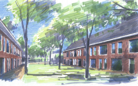 Artistieke impressie van nieuwbouw in Vogelbuurt Amersfoort (Kramsvogelstraat) - Amersfoort Vernieuwt